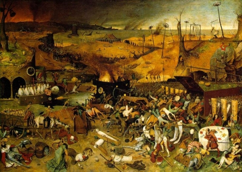 "Pintura que retrata a Guerra dos Cem Anos, por Bruegel, Le ""Triomphe de la mort""(Prado, Madrid, 1562, 117x162 cm)"