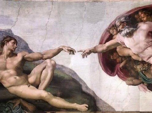 Deus e Adão - Obra de Michelangelo, afresco da Capela Sistina no Vaticano